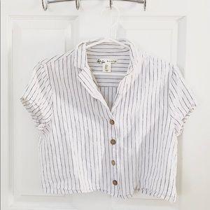 White & Stripe T-Shirt Crop Top